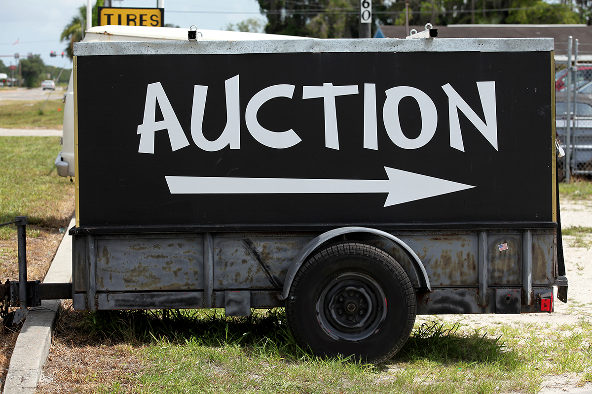 Trailer with auction sign